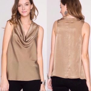 Tops - Satin Cowl Neck Blouse